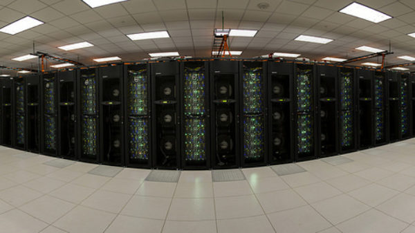 Panorama of the Stampede supercomputer, one of the most powerful supercomputers in the U.S. for open research. Able to perform nearly 10 trillion operations per second, Stampede is the most capable of the HPC, visualization and data analysis resources within the NSF Extreme Science and Engineering Discovery Environment (XSEDE).