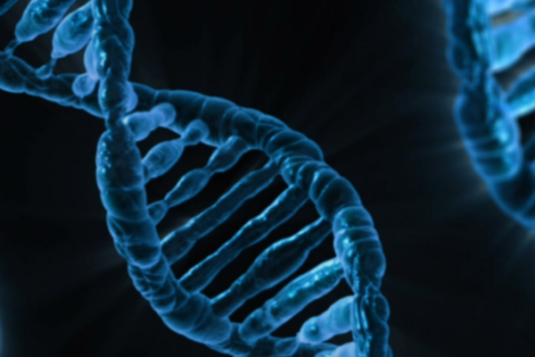 Blue DNA Helixes on a black background