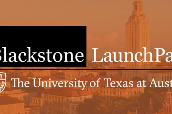 Logo for the Blackstone LaunchPad that is superimposed on a background of the university campus