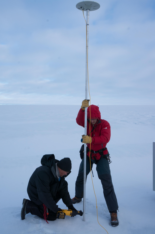 Researchers on glacier