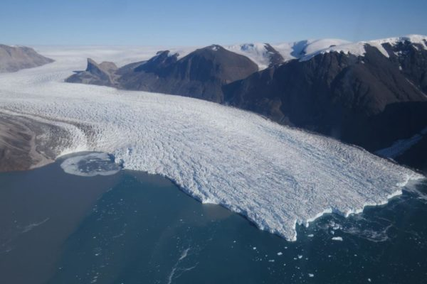 Aeriel shot of the glacier Kangerlugssuup Sermerssua