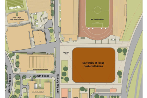 UT Basketball Arena placement via map drawing.