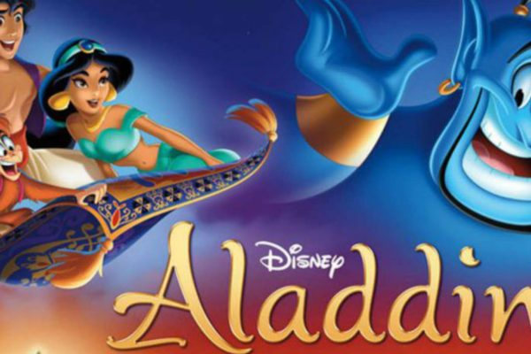 Disney's Aladdin riding the magic carpet with friends