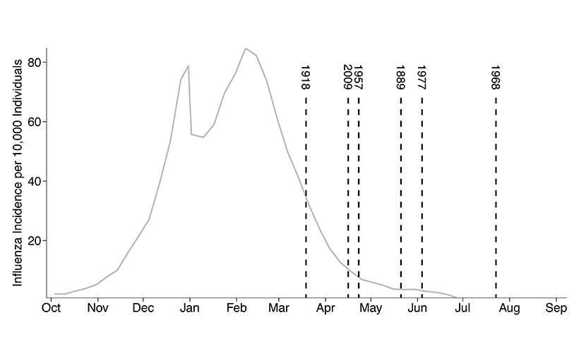 Timing of average flu season and flu pandemics