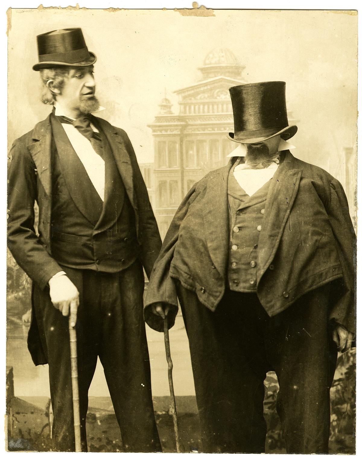 Unidentified photographer, [Weber and Fields in their German Senators routine], ca. 1887. Gelatin silver print, 25.5 x 20.3 c