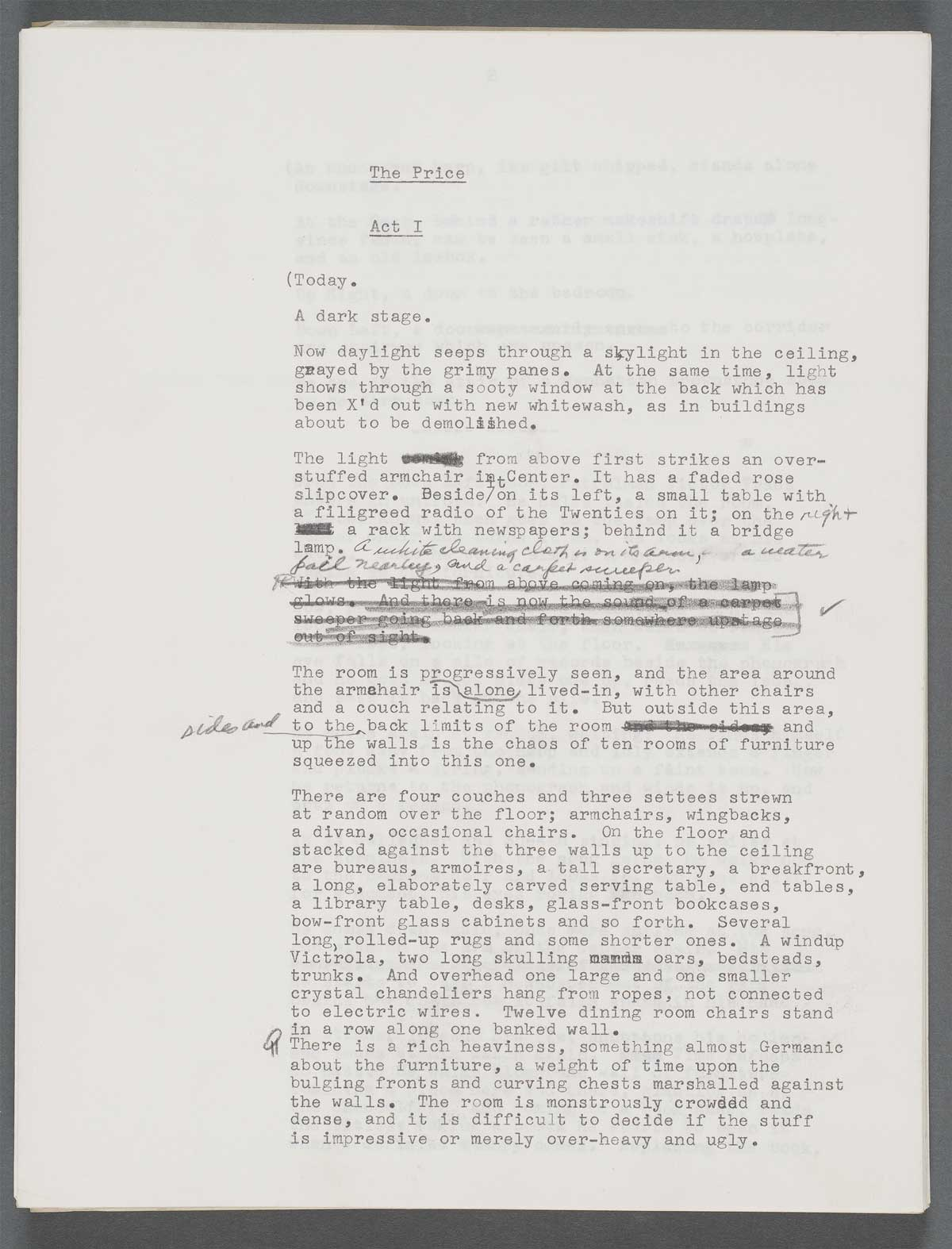 Typescript draft page for The Price, ca. 1967. Arthur Miller Papers, Harry Ransom Center.