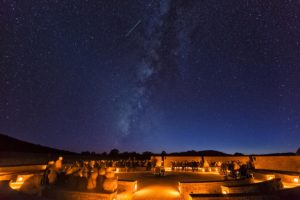 McDonald observatory's sky lit up with stars at night.