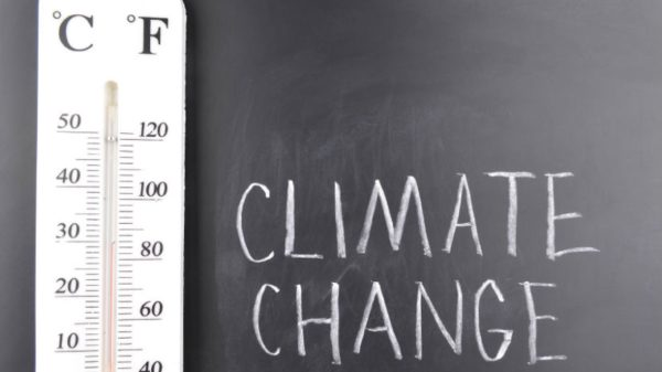Climate change written on a chalkboard next to a thermometer.