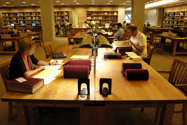 Scholars conducting research at the Harry Ransom Center. Photo by Pete Smith.