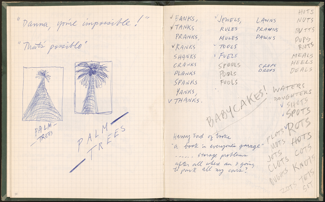 Ed Ruscha, Studio notebook, 1967–1969, with preliminary notes and sketches for A Few Palm Trees, February 1969.