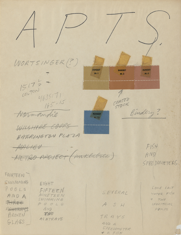 Ed Ruscha, Preliminary notes, Some Los Angeles Apartments, 1965. Ink and pencil on paper with color chips, 27.9 x 21.5 cm.