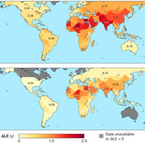 Chart showing how air pollution shortens life expectancy.