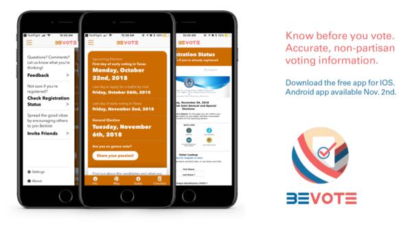 Be Vote app examples displayed on iPhones