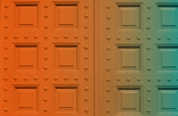 Orange and blue gradient on large doors