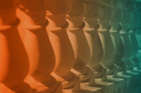 Orange and blue gradient on stair pillars