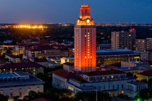 The UT Tower shines with a No. 1 lighting configuration