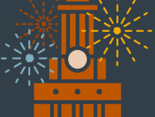 tower illustration with fireworks