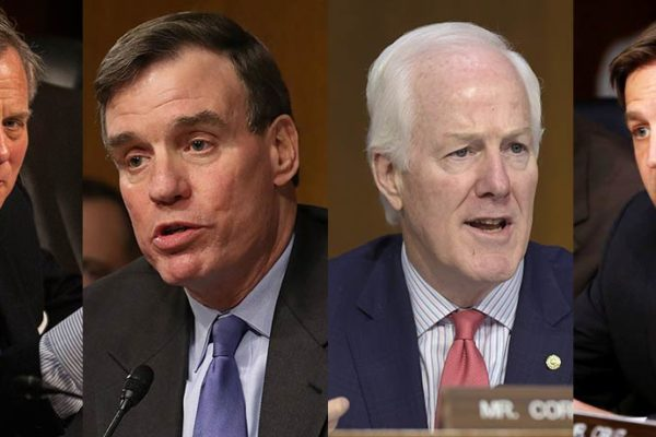 L to R: U.S. Senators Richard Burr, Mark Warner, John Cornyn and Ben Sasse.
