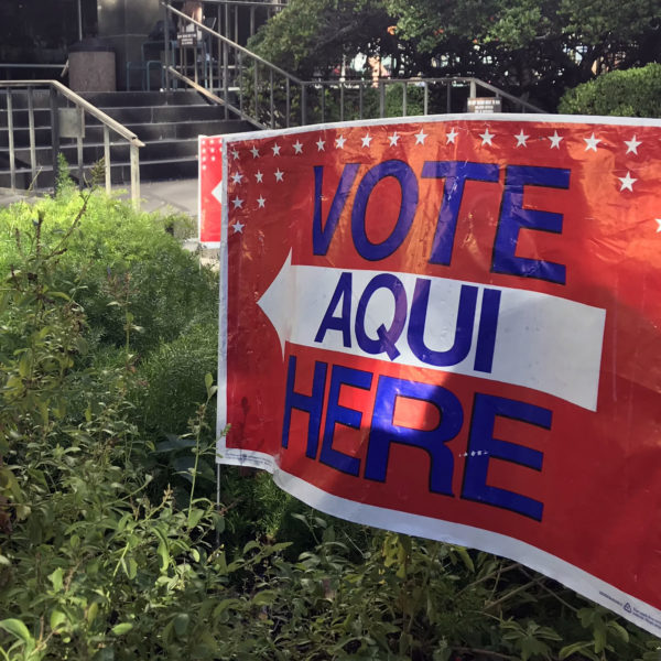 Voting sign outside the Flawn Academic Center (FAC)