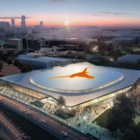 Rendering of new Texas Longhorns arena, exterior aerial