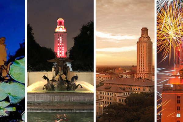 The four seasons of the UT Tower.