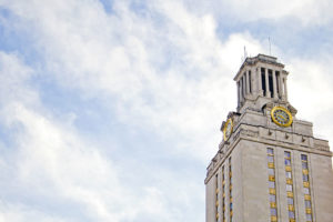 UT Tower in the winter against a cold sky.