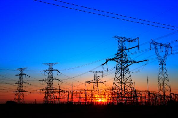 Powerlines in the dusk sky