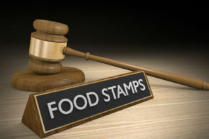 Food stamps with gavel