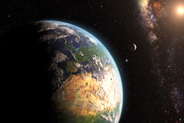 Space with Earth in foreground
