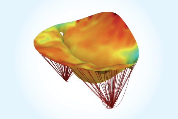 A computational model of the heart's mitral valve pre-surgery.