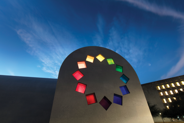 The east facade of Ellsworth Kelly's Austin at sunset.