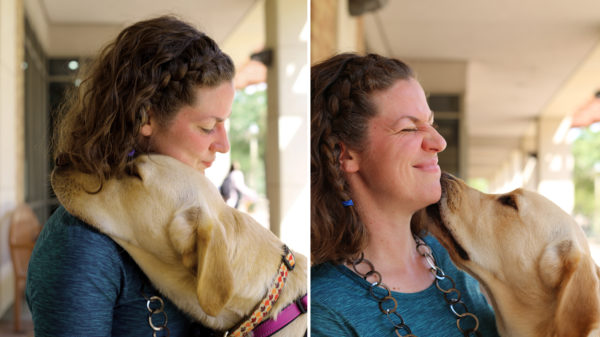 Emily Shryock with her service dog, Maple.