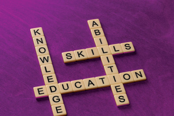 Cross-word tiles that spell Knowledge, Skills, Education, and Abilities.