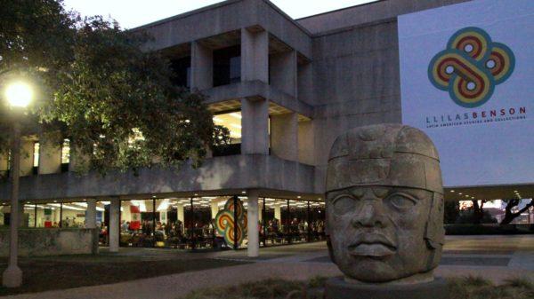Olmec head dusk in front of the Latin American Studies exhibit.