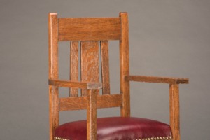 Child's rocking chair, manufactured by unknown American maker, c. 1914. Oak with leather upholstery (replaced). Collection of Arlo Casey, Austin.