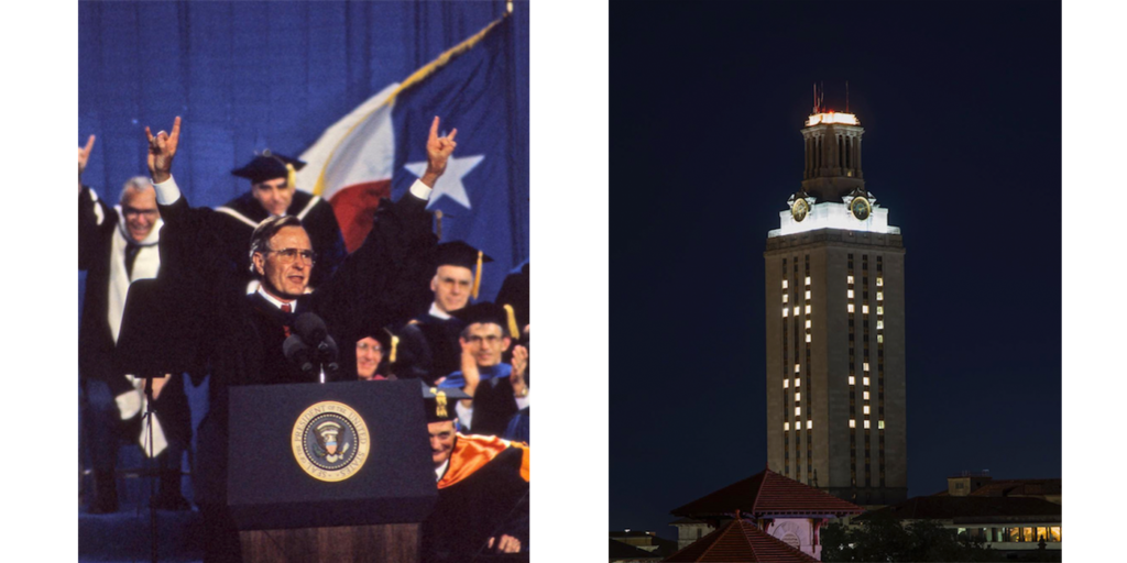 President George H.W. Bush delivered the 1990 Commencement address, and the university community celebrated his life and legacy by darkening the Tower.