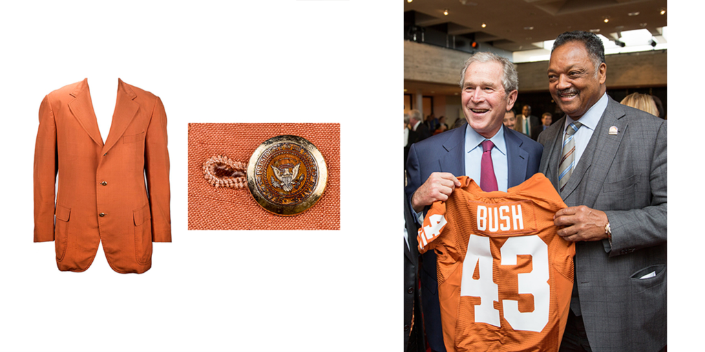 President Johnson once wore this burnt orange jacket to a Texas Football game, and President Bush has a personalized Texas Football jersey.