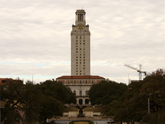 The UT Tower in the evening.