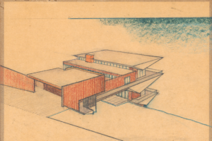 Harwell Hamilton Harris. [Weston] Havens House, Berkeley, California, 1941, rendering dated 1939. Crayon and pencil on trace paper adhered to board. 33 x 42.5 cm. Harwell Hamilton Papers, Alexander Architectural Archives. Courtesy University of Texas at Austin.