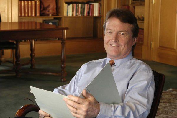 Bill Powers, former president of UT Austin, in his office.