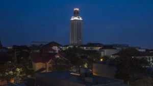 Tower darkened for former UT Austin President Bill Powers.