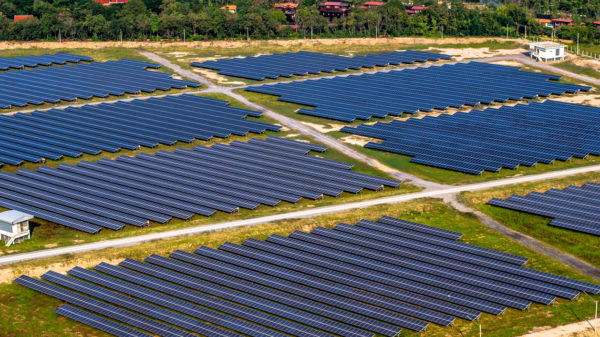 Salor panels in the sun from an aerial view