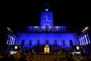 Tower lit blue.