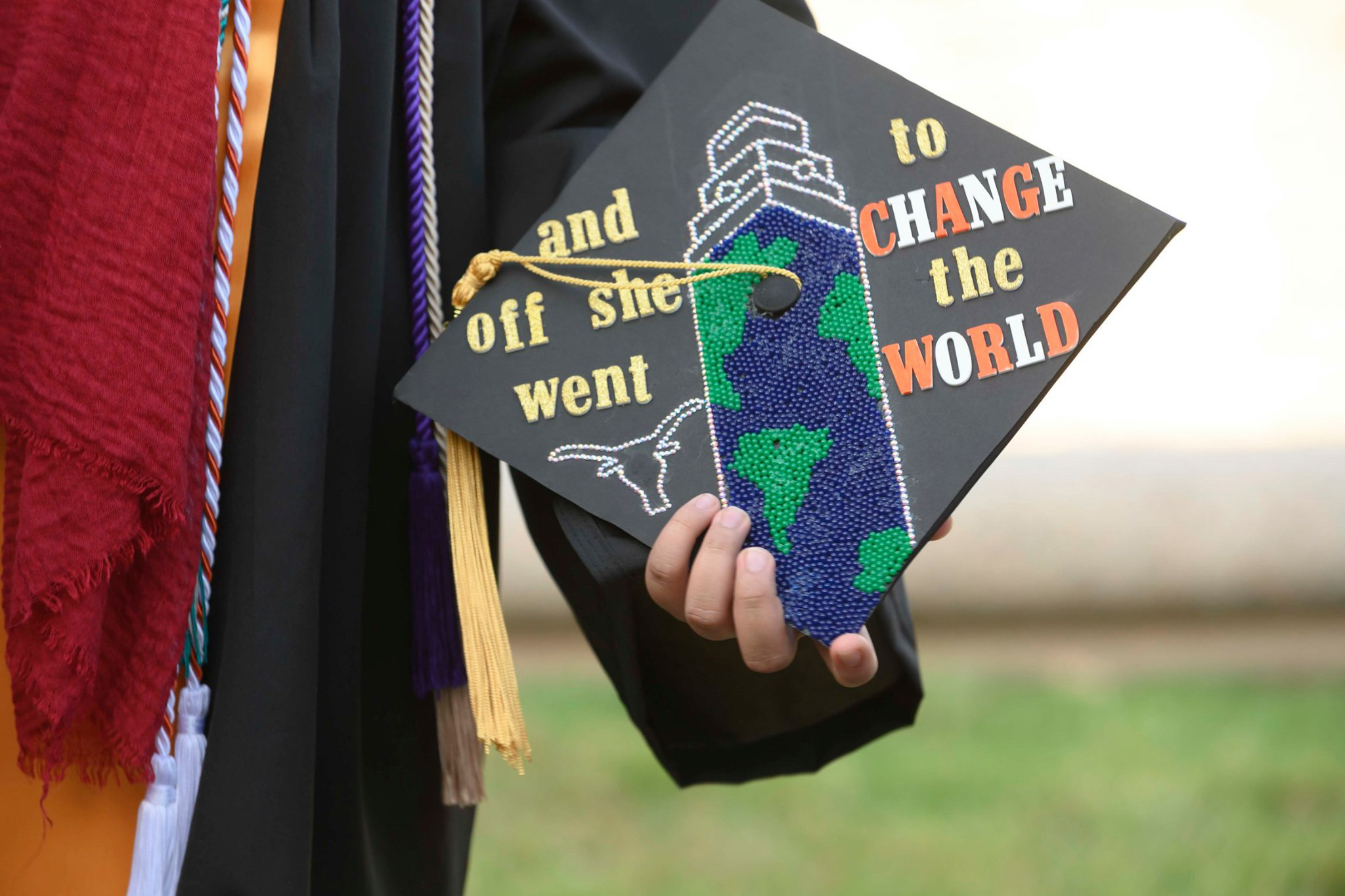 Graduation cap with lettering that says
