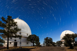 Star trails whirl around Polaris at McDonald Observatory.