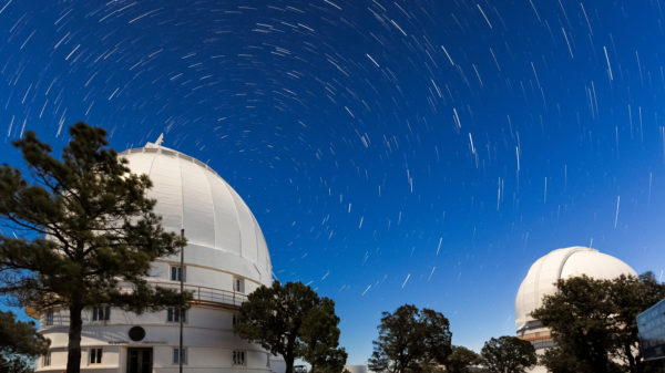Star trails whirl around Polaris at McDonald Observatory.