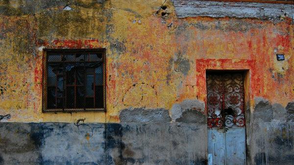 Colorful wall in Puebla, Mexico.