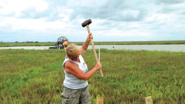 Kim Jackson working on a coastal island.