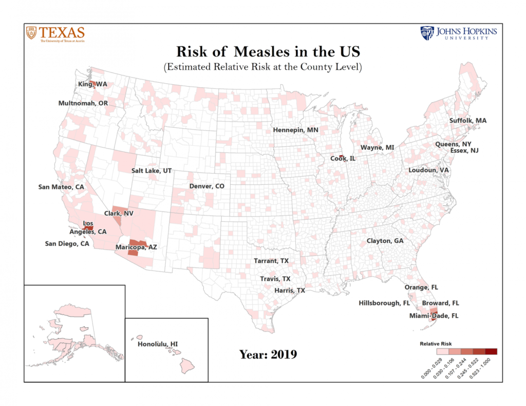 Map of counties at-risk for measles outbreaks.