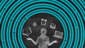 An chalkboard illustration of a person juggling a book, a clock, an apple, an email message and a laptop.